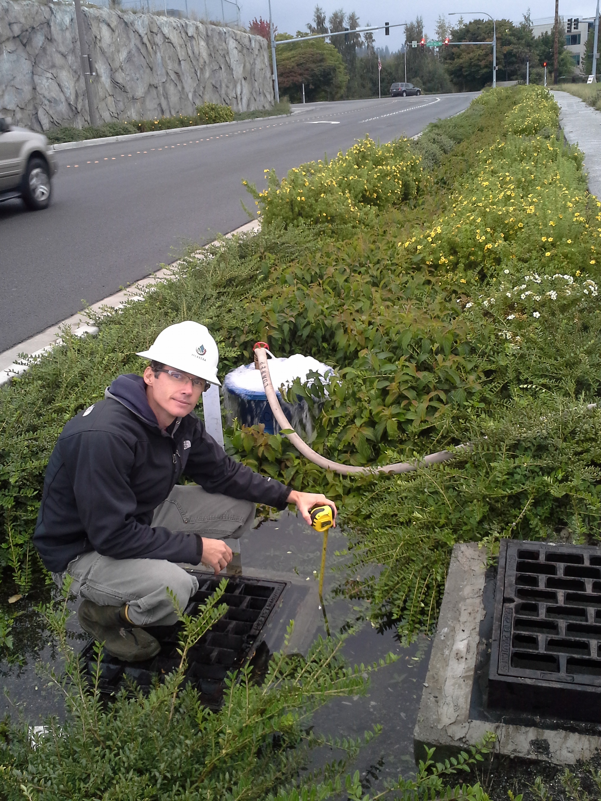 Measuring infiltration rates at 185th in Redmond. The study that alerted the region