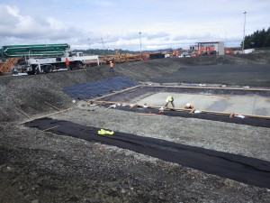 pond and sludge channel formwork- view north